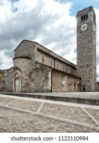 Vertical shot of the Pieve of San Giorgio di Valpolicella, municipality of Sant'Ambrogio di Valpolicella, in the province of Verona. italy