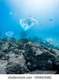 A vertical shot of the plastic bags in the depths of the ocean - water pollution