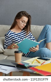 Vertical shot of pleasant looking woman carries notebook, makes list of things to do during working day, busy with preparing startup project, drinks takeaway coffee, poses on cozy couch indoor
