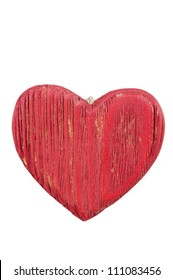 Vertical shot of a red wooden heart isolated over white