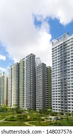 Vertical shot of a roll of Residential apartments with Park and playground