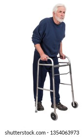 Vertical shot of a stooped old man with walker facing toward the right isolated on white with copy space.