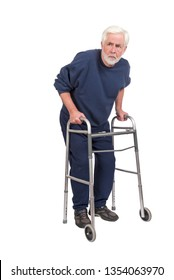 Vertical shot of a suspicious old man with walker isolated on white with copy space.