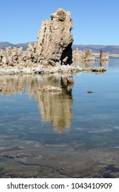 A vertical shot of a tufa reflecting in the calm water of Mono Lake in northern California on a sunny day.