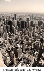 Vertical skyline of Manhattan in New York City, United States, in sepia.