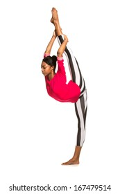 Vertical splits. Latina dancer girl, isolated