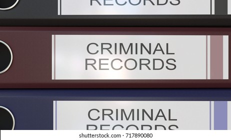 Vertical stack of multicolor office binders with Criminal records tags 3D rendering