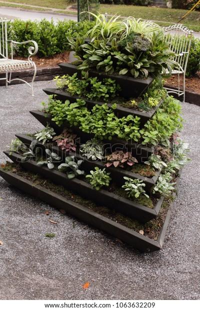Vertical Stackable Container Garden Stock Photo Edit Now 1063632209