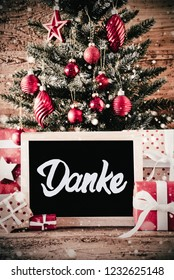 Vertical Tree, Gifts, Calligraphy Danke Means Thank You, Snowflakes