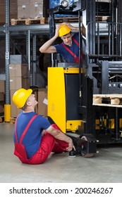Vertical view of an accident on a forklift