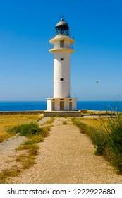 Vertical view of Cap de Barbaria lighthouse, Formentera, Balearic Islands, Spain