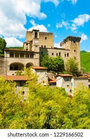 Vertical view of Castello della Verrucola in Fivizzano, Massa e Carrara, Tuscany, Italy