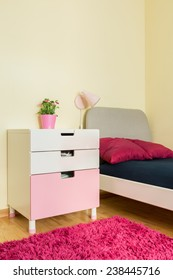 Vertical view of cozy room for girls