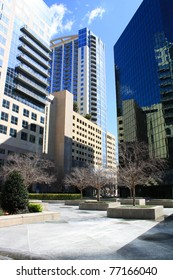 A vertical view of a downtown plaza in Orlando, Florida, on Orange Avenue.
