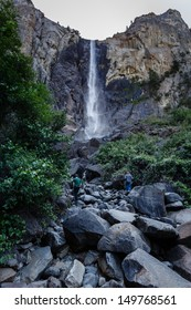 Vertical view of the entire Bridal Veil Falls in Yosemite National Park California