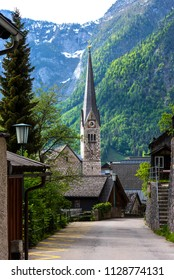 Vertical view of the Evangelical Church of Hallstatt in Austria in the summer.