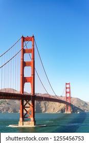 Vertical view of Golden Gate Bridge in San Francisco