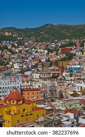 Vertical View of Guanajuato, Mexico, with Blue Sky and Mountains