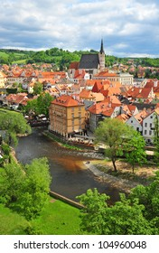 vertical view of the historical township of Cesky Krumlov