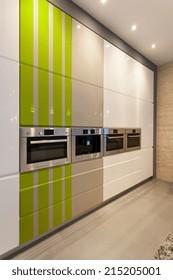 Vertical view of interior of modern kitchen