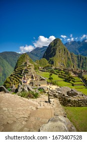 Vertical view of the Lost Incan City of Machu Picchu near Cusco, Peru. Machu Picchu is a Peruvian Historical Sanctuary.