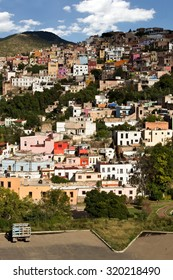 Vertical view of mountainside city Guanajuato Mexico