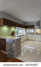 Vertical view of new and modern kitchen interior