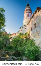 Vertical view over the Ceske krumlov castle tower and the bear garden