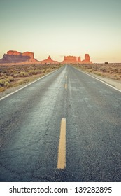 Vertical view of road to Monument Valley, USA