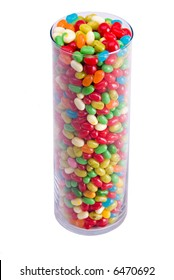 vertical view of tall clear jar of colorful jelly beans