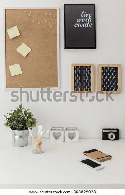 Vertical view of workspace with bulletin board