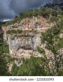 The vertical wall of Anisclo Canyon in the Pyrenees of Huesca, south of Monte Perdido, located in Ordessa and Monte Perdido National Park, province of Huesca, town of Escaluna, Pyrenees, Spain