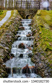Vertical waterfall at Park Oruński im. Emilii Hoene in Gdańsk in Poland