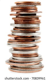 Vertically stacked american coins on a white background.
