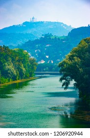 Vertilcal view of Po river with Superga hill in the background, Turin, Piedmont, Italy