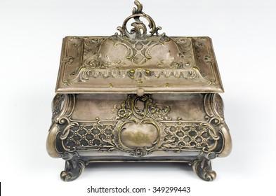 very ancient of metal lockbox