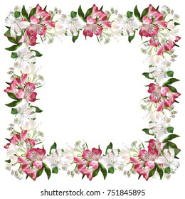 Very attractive floral pattern of pink and white alstroemerias