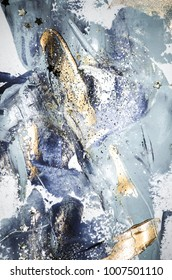 Very beautiful art. Abstract background.  Blue and gold paint. Golden sequins