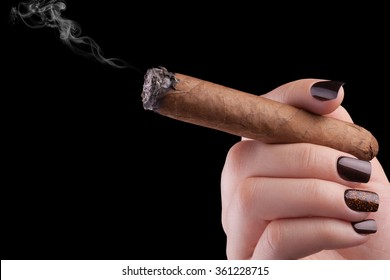 Very beautiful black nails close-up cigar.
