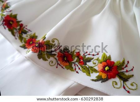 Very Beautiful Fashionable Ukrainian Hand Embroidery Stock Photo