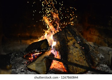 very beautiful fire in the fireplace