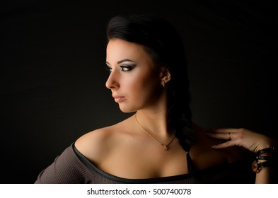 Very beautiful girl portrait in the studio