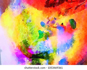very Beautiful large scale abstract Watercolor on Paper
