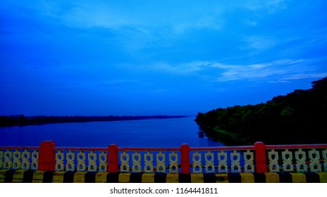 Very beautiful scene of river from a road bridge connecting Jhansi city and Khajuraho city situated near to Jhansi city Uttar Pradesh India