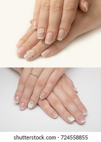 Very beautiful silver metallic nails closeup gel, acrylic