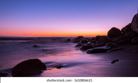 very beautiful sunset and glow atmosphere after sunset in a classic blue purple color. selective focus