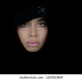 Very Beautiful woman On Black with Black Scarf