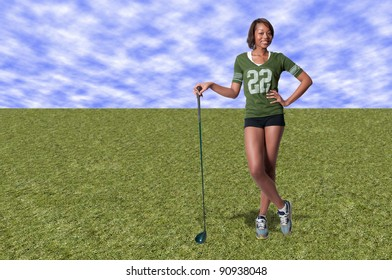 A very beautiful and young black African American woman golfer