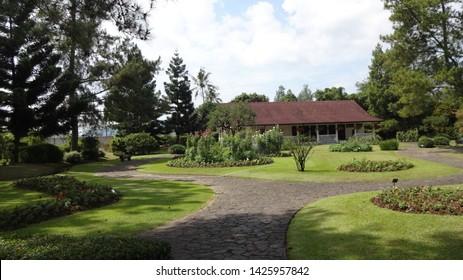 Very beautifull house with western style in Nusantara Flowers Garden in cianjur west java indonesia. photo taken in june 2019