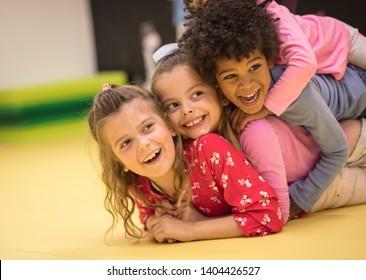 The very best of friends. Children in preschool.